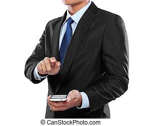 モビール, スクリーン, 電話, 感動的である, 保有物, ビジネスマン, 痛みなさい