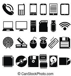 モビール, セット, コンピュータ, 装置, アイコン