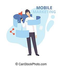 モビール, ベクトル, 平ら, 昇進, ソフトウェア, インターネット, personalizing, イラスト, マーケティング, 広告, ビジネス