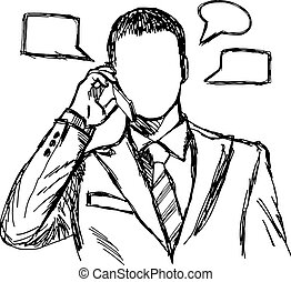 モビール, 使うこと, doodles, 電話, ビジネスマン