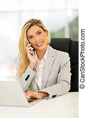 モビール, 女性実業家, 話し, 電話