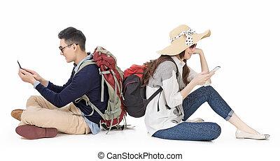 モビール, 恋人, 若い, 電話, 旅行, 使うこと, アジア人