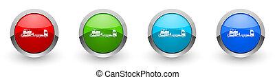 モビール, 概念, 4, 色, デザイン, 網, トラック, 長い間, セット, インターネット, アプリケーション, ボタン, 背景, オプション, ブルドーザー, 隔離された, 牽引, 白, 車トレーラー, 現代
