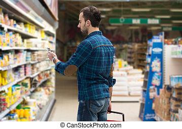 モビール, 若い, スーパーマーケット, 電話, タイプ, 人