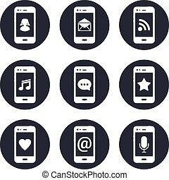 モビール, 連絡, セット, 電話, アイコン