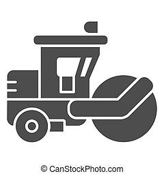 モビール, 道, 背景, graphics., glyph, トラック, 固体, 印, 装置, 概念, design., アスファルトローラー, 網, 白, ベクトル, スチームローラー, 重い, アイコン, スタイル, 概念, アイコン