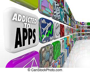 モビール, apps, 常習している, 言葉, タイル, ディスプレイ, ソフトウェア