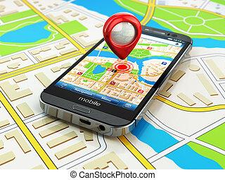 モビール, gps, ナビゲーション, concept., smartphone, 上に, 地図, の, 都市