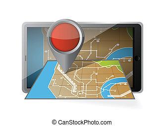 モビール, navigation., コンピュータ, タブレット, gps