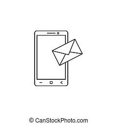 モビール, sms, 印, アイコン, メール, 線, メッセージ
