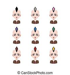 モホークインディアン, 別, -, 毛, 色, 9, 女の子