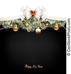 モミコーン, お祝い, 木, 背景, ボール, クリスマス