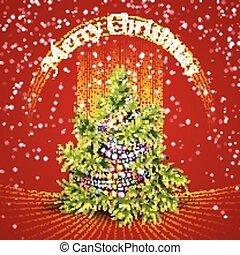 モミツリー, イラスト, ベクトル, 背景, クリスマス, 赤