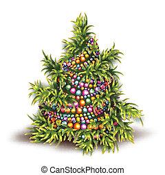 モミツリー, イラスト, ベクトル, 背景, 白い クリスマス