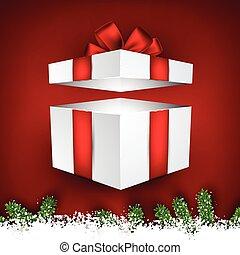 モミ, そして, 雪, クリスマス, frame.