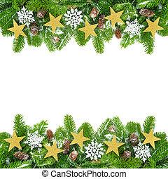 モミ, クリスマス, 小枝, 飾られる, フレーム