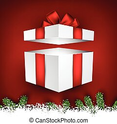 モミ, クリスマス, 雪, frame.
