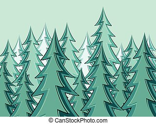 モミ, シルエット, 森林, 木
