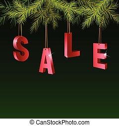 モミ, ブランチ, タグ, 上に, セール, 緑の背景, クリスマス, 赤