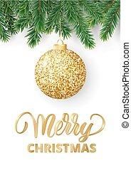 モミ, ブランチ, ボール, テキスト, 木, 挨拶, 陽気, 掛かること, きらめき, クリスマスカード