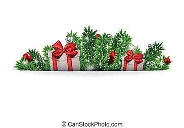 モミ, ブランチ, 贈り物, boxes., 背景, クリスマス