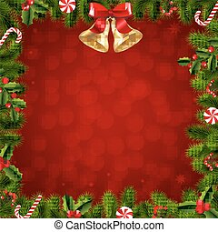 モミ, ボーダー, 木, クリスマス, ブランチ