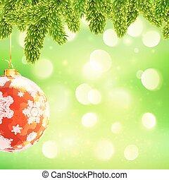 モミ, ボール, ブランチ, テンプレート, ライト, 木, bokeh, 緑の背景, 掛かること, クリスマス, 赤