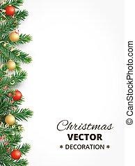 モミ, ボール, 木, クリスマス, 掛かること, 背景, 花輪, あばら骨