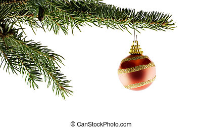 モミ, ボール, 木, クリスマス, 赤