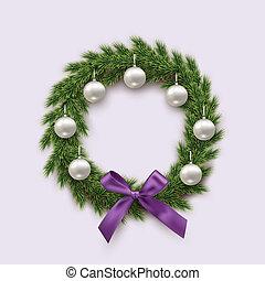モミ, ボール, 花輪, 隔離された, 弓, バックグラウンド。, ベクトル, デザイン, element., すみれ, 白い クリスマス, 銀