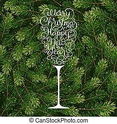 モミ, レタリング, 休日, ブランチ, 陽気, 形態, 木, 贈り物, 手, ガラス, 背景, 年, 新しい, シャンペン, クリスマスカード, 幸せ