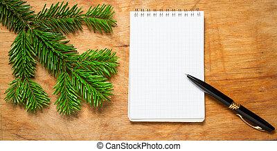 モミ, 古い, メモ用紙, 無作法, ペン, テーブル, branch., 飾られる