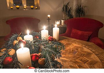 モミ, 古代, 蝋燭, 到来, 木, テーブル, 飾られる