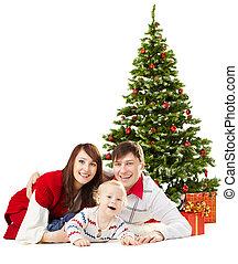 モミ, 家系, 上に, funy, 背景, 下に, 赤ん坊, 白い クリスマス