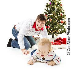 モミ, 家系, 親, 微笑, クリスマス, 幸せ