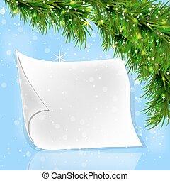 モミ, 小枝, スクロール, ペーパー, 白い クリスマス