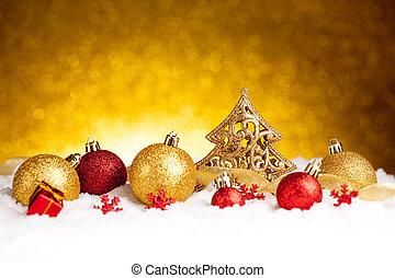 モミ, 金, 金, 木, 装飾, 装飾, クリスマス, 赤