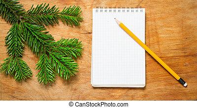 モミ, 鉛筆, 古い, メモ用紙, 無作法, テーブル, branch., 飾られる