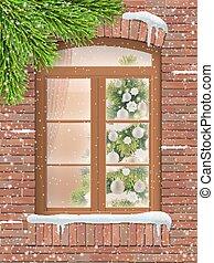モミ, 雪, 窓, クリスマスツリー