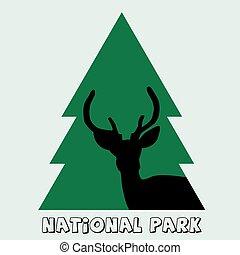 モミ, 鹿, 国立公園, 雄鹿, アイコン