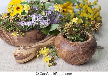 モルタル, herbs., すりこぎ