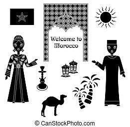 モロッコ, セット, 黒