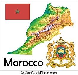 モロッコ, 旗, 地図, コート