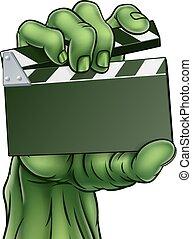 モンスター, クラッパー, 映画, 恐怖, ゾンビ, 板, フィルム