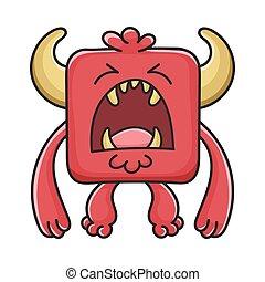 モンスター, 悪魔, 漫画, 赤, 叫ぶ, 広場
