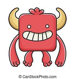 モンスター, 悪魔, 漫画, 赤, 幸せ, 広場