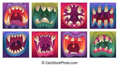 モンスター, 歯, シャープ, 漫画, 口, isolated., セット, ベクトル, イラスト