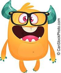 モンスター, 漫画, イラスト, オレンジ, ベクトル, トロール, 身に着けていること, 小悪魔, オール, glasses., ∥あるいは∥, 外国人, nerd, 隔離された