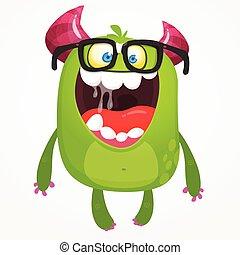 モンスター, 漫画, イラスト, トロール, ベクトル, 身に着けていること, 小悪魔, 緑, オール, glasses., ∥あるいは∥, 外国人, nerd, 隔離された