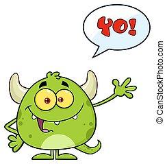 モンスター, 特徴, 挨拶, 振ること, 緑, スピーチ, emoji, 泡, 漫画, 幸せ